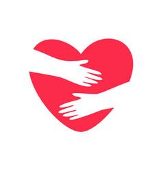 hands embracing heart logo vector image