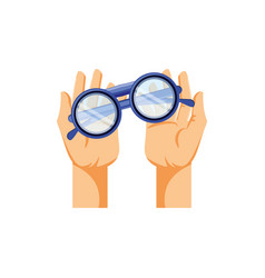 Hands with optical eyeglasses isolated icon vector