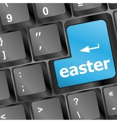 happy easter text button on keyboard keys vector image