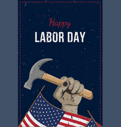 happy labor day holiday banner man holds a vector image