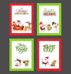 happy new year festive cards with cartoon santa vector image