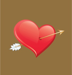 Heart impaled by arrow vector