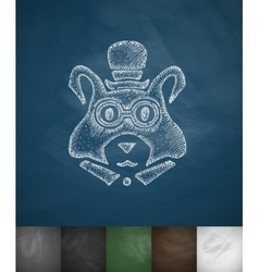 Hipster marmot icon Hand drawn vector