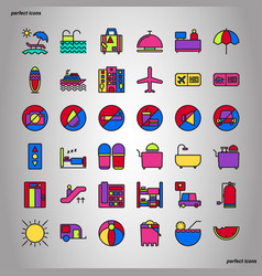 holiday color line icons perfect pixel vector image