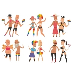 Homosexual gay and lesbian people set vector image