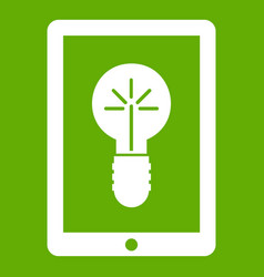 idea lamp on gadget screen icon green vector image