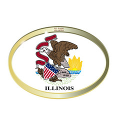 Illinois state flag oval button vector
