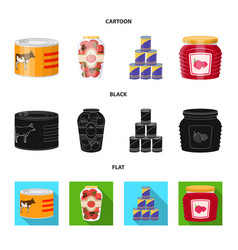 isolated object of can and food sign collection vector image