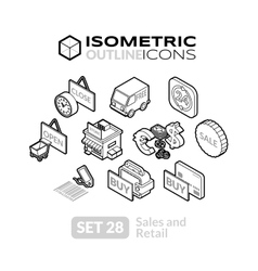 Isometric outline icons set 28 vector image