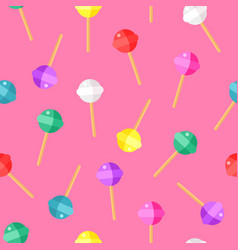 Lollipop color pattern on pink background cartoon vector