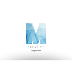 M blue polygonal alphabet letter logo icon design vector