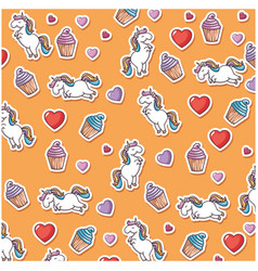 Magical unicorns background vector