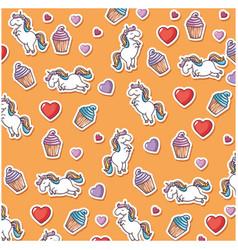 magical unicorns background vector image
