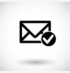 Mail accept flat icon vector