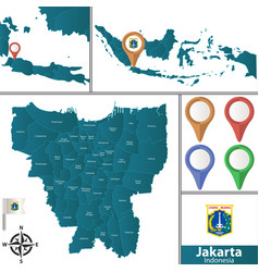 Map of jakarta with districts vector