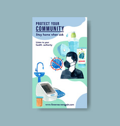 Medical poster design with wash basin hand gel vector