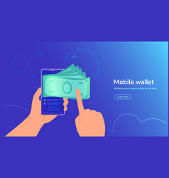 Mobile wallet and money withdrawal wirelessly and vector