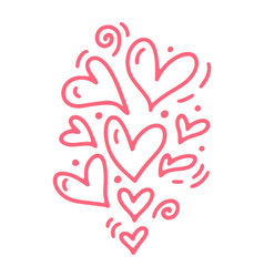 monoline cute pink different size hearts vector image