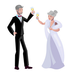 old woman and man evening dress vector image vector image