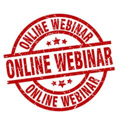 Online webinar round red grunge stamp vector