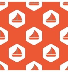 Orange hexagon sailing ship pattern vector