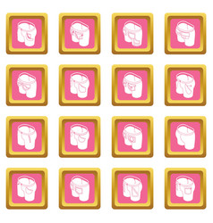 Pants pockets design icons set pink square vector