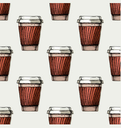 pattern with paper cup vector image