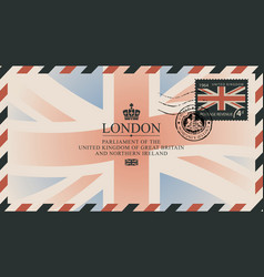 Postcard or envelope with flag of united kingdom vector