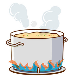 Pot soup on hot stove vector