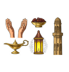 praying hands arabic lampdates fruit minaret vector image