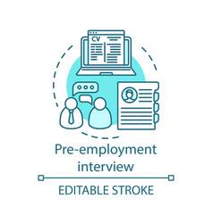 Pre-employment interview concept icon vector