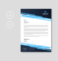 professional blue letterhead vector image