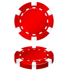 Red casino chip on white vector