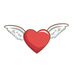red heart with wings decoration romance retro vector image