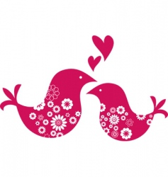 retro love birds with hearts vector image
