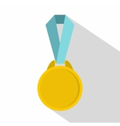 Round medal with ribbon icon flat style vector