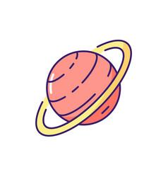 saturn rgb color icon vector image