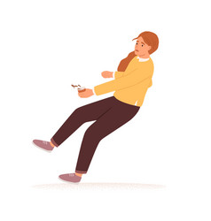Scared person with coffee cup stumbling vector