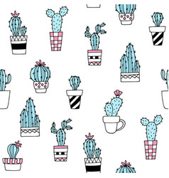 seamless pattern with cute hand drawn cactus vector image