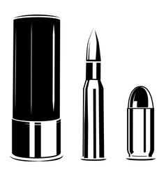 Set bullet caliber weapon vector