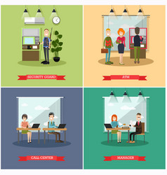 set of bank concept square posters in flat vector image