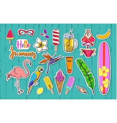 set of fashion summer stickers badges 2 vector image