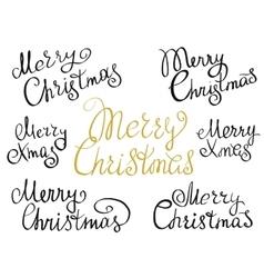 Set of Merry Christmas handmade lettering vector image