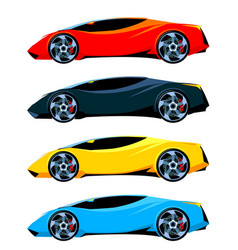 Set of sport cars side view different colors vector