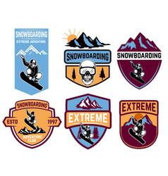 set snowboarding emblems design element vector image