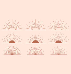 set sun icons and symbols in linear boho style vector image