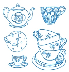 Set with teapots and teacups vector