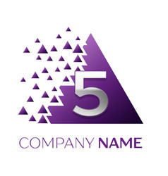 Silver number five logo in purple pixel triangle vector