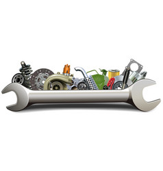 spanner with car parts vector image