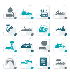 Stylized car and transportation insurance and risk vector